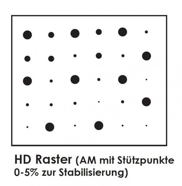HD Flexo (AM-Raster mit Stützpunkten zur Stabilisierung), Buchdruck, Druckplatten, Druckplattenherstellung, Flexodruck, Tiefdruck