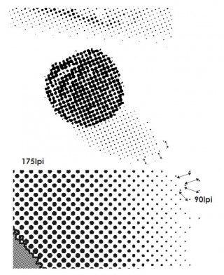 Die Smart-Screening-Technologie. In den Lichtern werden die Zwischenräume zwischen den einzelnen Rasterpunkten vergrößert, Buchdruck, Druckplatten, Druckplattenherstellung, Flexodruck, Tiefdruck