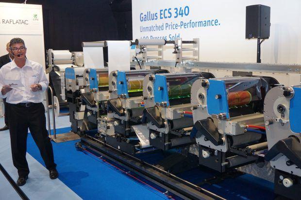 Demonstration der Gallus ECS 340 ausgerüstet mit Rhino LED-UV-Härtung von GEW und Siebdruckformen vom Typ Screeny Highspeed