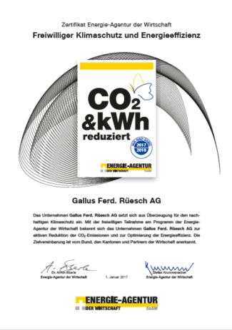 Gallus Zertifikat Reduzierung CO2