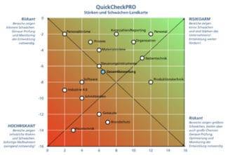 Auf die Stärken-Schwächen-Landkarte von QuickCheck.Pro, die aus dem System heraus erzeugt wird