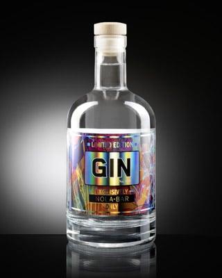 Leonhard Kurz geprägtes Etikett für Ginflasche