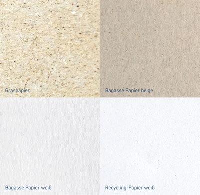 Oberflächen verschiedener nachhaltiger Materialien für die Etikettenproduktion (Quelle: VPF)