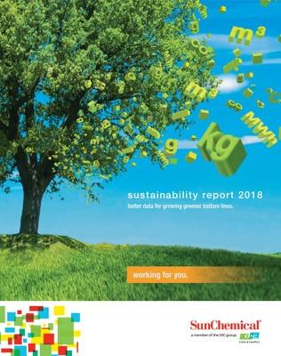 Titelseite des Nachhaltigkeitsberichtes 2018 von Sun Chemical