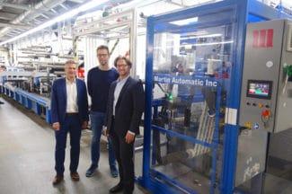 V.l.n.r.: Bernd Schopferer von Martin Automatic mit Alexander Thöle und Michael Leon von Kolbe-Coloco