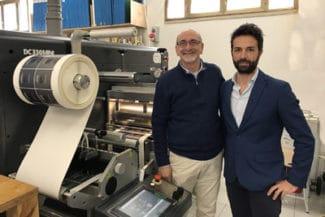Fabio Piacentino, GrafiPrint (l.) and Luca Marvini, GM, vor der neue GM DC330Mini
