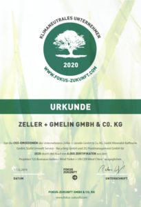 "Per Urkunde dokumentiert: Zeller+Gmelin ist am Standort in Eislingen ""Klimaneutrales Unternehmen 2020"" (Quelle: Zeller+Gmelin)"