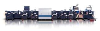 Die neue Inline-Hybridlösung mit der digitalen Etiketten-Finishing-Maschine Rotocontrol DT-340 mit einer integrierten Domino N610i Etikettendruckmaschine (Quelle: Rotocontrol)