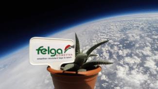 Eine der spektakulärsten Marketing-Aktionen von Felga-Etiketten war der Flug eines der Felga-Produkte ins All (Quelle: Felga Etiketten)