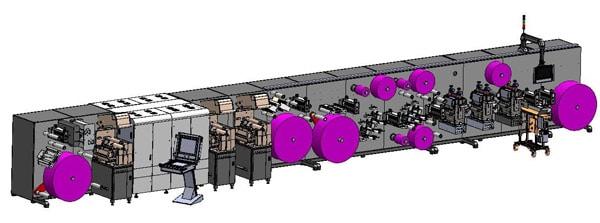 Schemazeichnung der individuell mit dem Kunden erarbeiten Print- und Converting-Lösung von F+V Automation (Quelle: F+V)