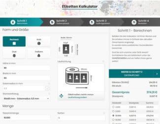 Der Etiketten-Kalkulator ist einfach zu bedienen und gibt ausführliche Auskünfte zum bestellten Produkt (Quelle: etikettensprint.de)