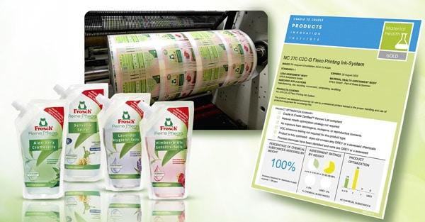 Das mit dem Material Health Certificate (MHC) GOLD ausgezeichnete kreislauffähige Druckfarbensystem für den Flexodruck kommt bei den voll recyclingfähigen Standbodenbeuteln der Marke Frosch zum Einsatz (Quelle: Werner & Mertz)