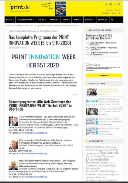 Die PRINT INNOVATION WEEK vom 5.-9. Oktober. Jetzt anmelden und auf dem neuesten Stand bleiben.