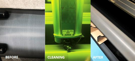 Reinigung einer Rasterwalze mit einem Laser (Quelle: Grafitex)