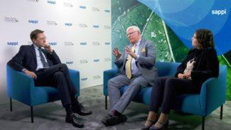 Sappi Europe-CEO Berry Wiersum und Sustainability Managerin Sarah Price über Zusammenarbeit für eine nachhaltige Zukunft (Quelle: Sappi Europe)