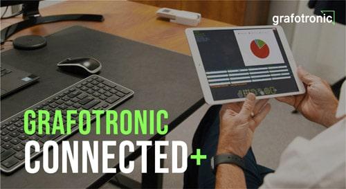 Mit der Connected+-App lassen sich Produktionsengpässe finden und der Ausstoß der Maschine erhöhen (Quelle: Grafotronic)