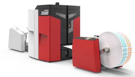 Die Xeikon 3500 bei Labo Print, eingerichtet für die Produktion von Papierbechern (Quelle: Xeikon)