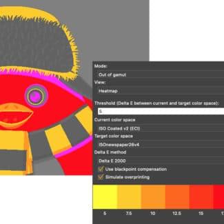 Farbabweichungen können geprüft und Farbunterschiede zwischen PDFs ermittelt werden. Die Ergebnisse sind bei Bedarf in Heatmaps zu visualisieren (Quelle: callas)