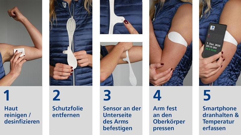 Produktanwendung smart-Sensor BodyTemp (Quelle: smart-TEC)