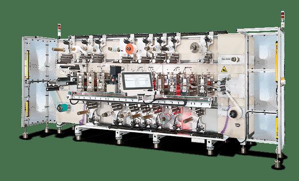 Sysco RDL Rotationsstanzmaschine mit Laserstanz- und Laminiereinheiten und mehreren Ab- und Aufwickelstationen (Quelle Dorey Systems)