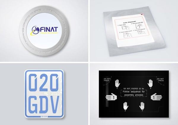 Neben dem PlasmaPatch wurden bei der Verleihung der FINAT-Awards auch das Patch-Safe (oben rechts), die Displayschutzfolie (unten rechts) und das Klebekennzeichen (unten links) prämiert (Quelle: Schreiner Group)