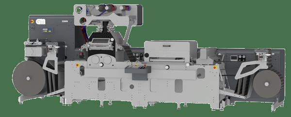 Die GM 330FB in der Ausstattung mit Heißfolien-/Blindprägung mit schwenkbaren Folienturm, Hologramm optional und dem neuen Siebdruckmodul mit neuem automatischen Pumpensystem  (Quelle: GM)