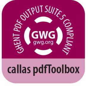 Die Ghent Workgroup bietet ein Konformitätslabel-Programm für angeschlossene Anbieter an, deren Produkte mit der Ghent PDF Output Suite 5 konform sind (Quelle: callas)