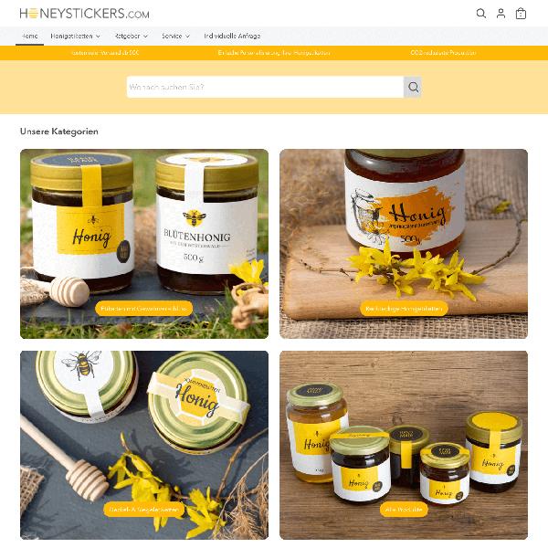 Auf honeystickers.com können Kunden ihre Etiketten in nur wenigen Klicks mit eigenen Angaben personalisieren (Quelle: honeystickers.com)