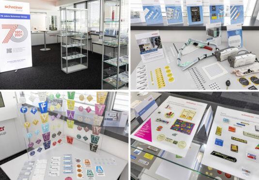 In einer Ausstellung mit eigenen Produkten zeigt die Schreiner Group, wie sich die Etiketten des Unternehmens über die 70 Jahre seit seiner Gründung weiterentwickelt haben (Quelle: Schreiner Group)