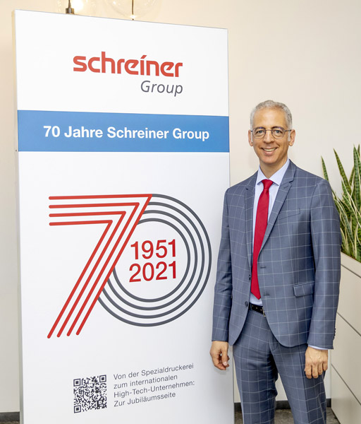Roland Schreiner, Geschäftsführer in der dritten Generation, würdigt das 70-jährige Jubiläum der Schreiner Group mit zahlreichen Aktionen.